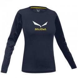 SALEWA Solidlogo CO W L/S night black hosszú ujjú póló