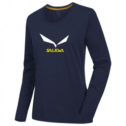 SALEWA Solidlogo 2 CO W L/S night black hosszú ujjú póló