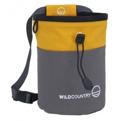 WILD COUNTRY Petit Bloc Chalk Bag grey/yellow pocket magnézium